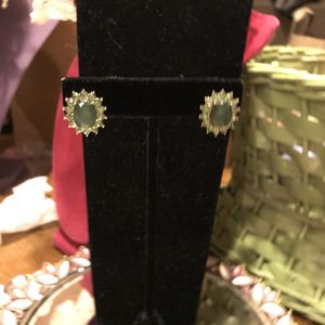 Gorgeous! Gold Green pierced earrings with Diamond crystal stones for Sale in Gainesville, VA