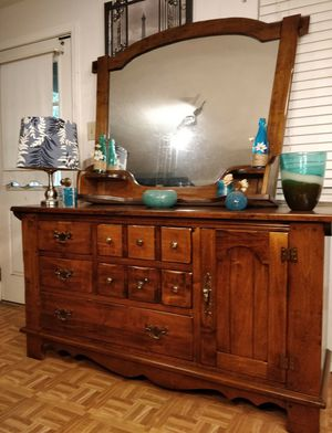 """Nice long dresser/TV stand with big mirror & shelves in good condition all drawers working well, dovetail drawers, driveway pickup L64""""*W19""""*H34"""" for Sale in West Springfield, VA"""