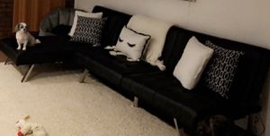 DHP Emily Sofa/ Futon & futon Chaise Lounger.. ( in black faux leather, with chrome legs ) Sofa the Futon Chaise lounger for Sale in Hightstown, NJ
