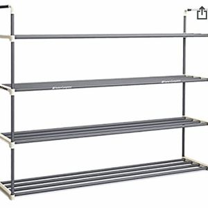 New! Home-Complete Shoe Rack with 4 Shelves-Four Tiers for 24 Pairs, White and Grey for Sale in Plainfield, IL