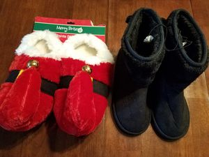 Women's size 7 Slippers New 2 pairs Christmas elf and boots for Sale in Buena Park, CA
