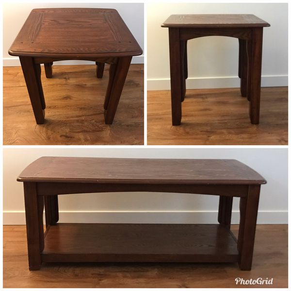 Brown wood coffee table and end table set