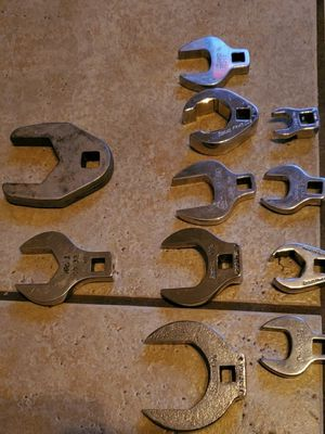 11 pieces ,9 Snap on,1 Mac crow foot wrenches for Sale in Stockton, CA
