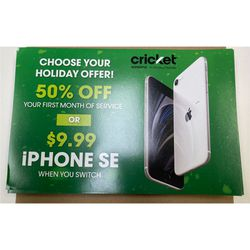 50% off your first month with Cricket/Get the iPhone SE for only $9.99 when you switch! for Sale in Farmville,  VA