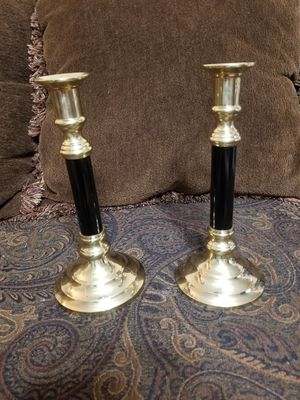 Vintage Brass and Black Candlestick Holders for Sale in East Providence, RI