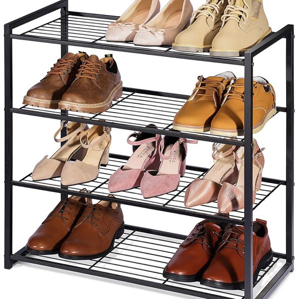 2 Titan Mall Black Shoe Rack Organizer Stand