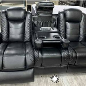 Electronica leather reclining loveseat and three seater sofa condition gently used for Sale in Baltimore, MD