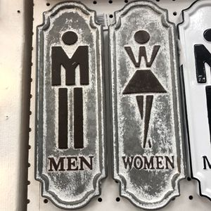 """Brand New Rustic Metal Men and Women Bathroom Signs Set of 2 (Dimensions: 4""""x12"""") for Sale in North Las Vegas, NV"""