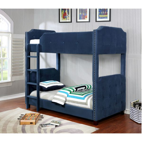 Twin Size Soft Velvet Upholstered Bunk Bed