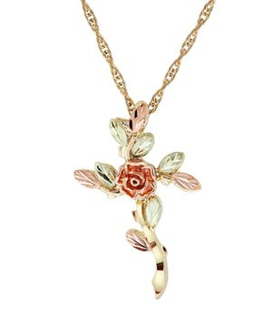 (Shipped Only) Black Hills Gold Rose Cross Necklace for Sale in Wichita, KS
