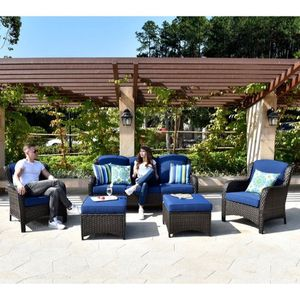 Patio Sets 5-piece Rattan Wicker Chair Sectional Sofa Set - Blue for Sale in Walnut, CA