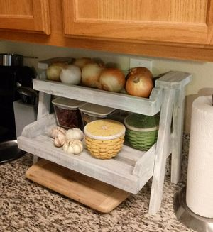 """14""""H X 20""""W X 10""""D 🍁2 Tier (2/3 Planks) Wood Tray Shelf ::: Rustic Distressed Still Gray/White for Sale in Las Vegas, NV"""