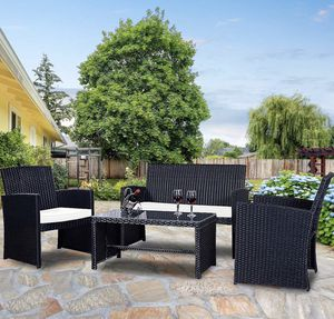 4-Piece Outdoor Patio/Lawn Conversation Set with Weather Resistant Cushions and Tempered Glass Tabletop (Purchase via PayPal Invoice with Free Shipp for Sale in Philadelphia, PA