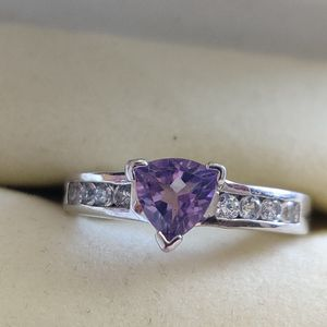 PURPLE TRILLION SHAPED AMETHYST AND CUBIC ZIRCONIA SILVER RING for Sale in Phoenix, AZ