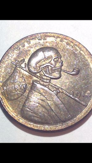 Rare Creepy Skull Modified 1914 Wheat Penny- Highly Unusual & Cool- Uncertified Coin for Sale in Chantilly, VA