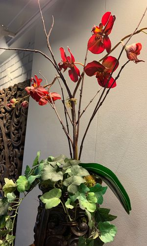 Beautiful fake red orchid potted plant for Sale in Palo Alto, CA