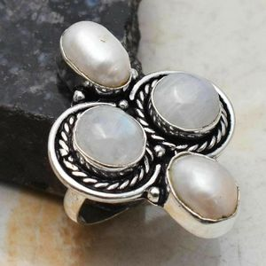 Biwa Pearl & Moonstone sizee 8 925 ring for Sale in San Antonio, TX