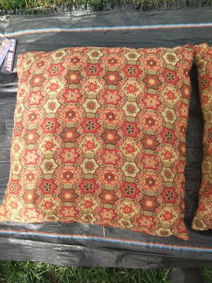Retro vintage large accent pillows orange brown for Sale in Takoma Park, MD