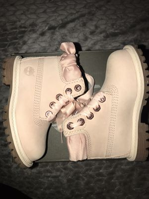 Toddler pink ribbon size 5 timberlands boots for Sale in Chicago, IL