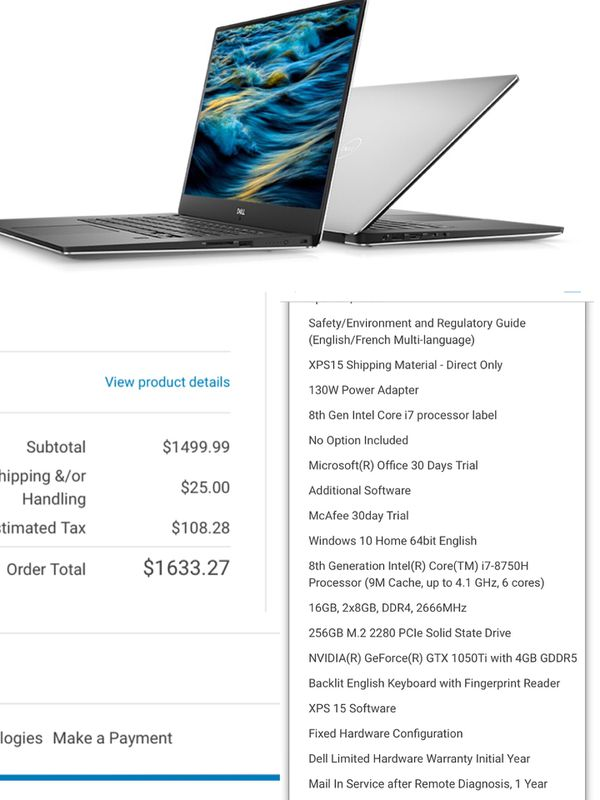 Dell xps 15' Game and work high performance