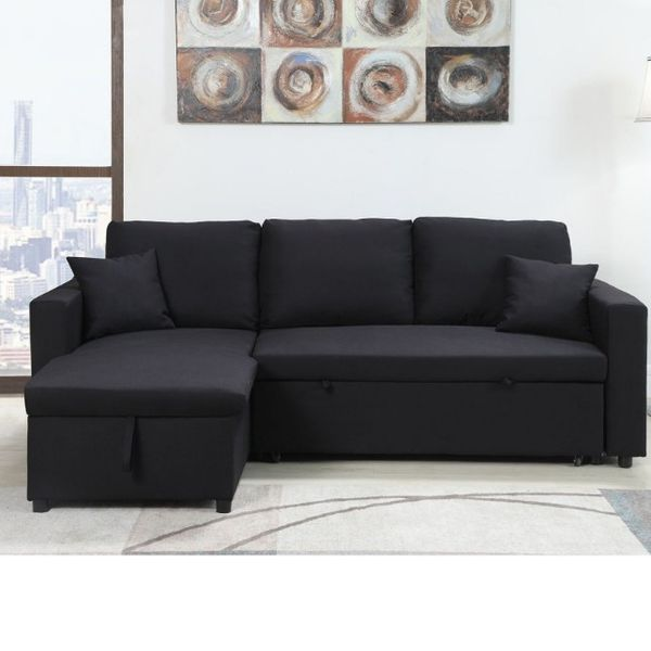 Reversible Sectional Sofa Pull Out Bed With Storage Chaise