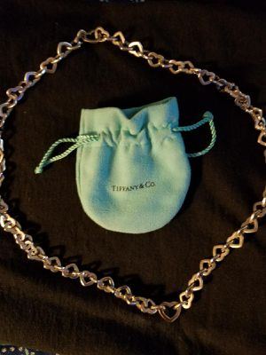 tiffany sterling necklace and bracelet with gold heart, 16 inch necklace, 7 inch bracelet. for Sale in IL, US
