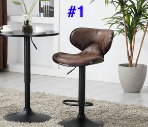 Adjustable Metal Swivel Vintage Brown Kitchen Dining Bar Counter Stool leather stools adjustable height swivel barstools chair 75 each for Sale in La Habra,  CA