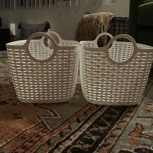 Two White Storage Baskets (No Contact Pick Up At Front Door ) for Sale in Lakewood, CA