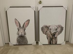 Framed Canvas Art Bunny/Elephant (Nursery/Toddler) 23x33in for Sale in Melbourne, FL
