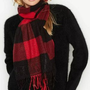 VS Winter Scarf fringed black/red buffalo plaid for Sale in Arlington, TX