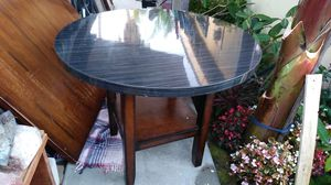 "Small table 38""×38"" round black&gray. Shiny finish for Sale in Fullerton, CA"