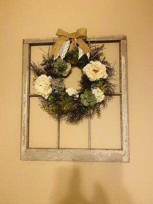 Farmhouse decor- vintage wood window frame and succulent wreath for Sale in Austin, TX