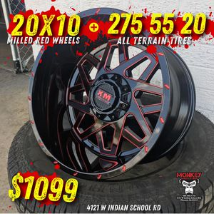 wheels and tires all 4 MONKEY WHEELS AND TIRES 4121 W Indian School Rd Phoenix, Az 85019 *480== 307==2141 20/10 for Sale in Tempe, AZ