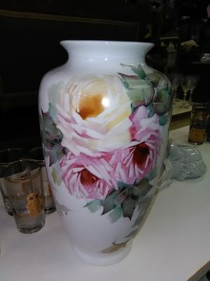 Large antique cabbage Rose hand painted flower vase for Sale in La Mesa, CA