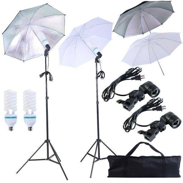 Brand new 4 umbrellas photo photography studio fluorescent lights height adjustable stand kit