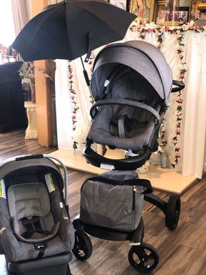 stokke xplory stroller with car seat must be sold together for Sale in Lynwood, CA