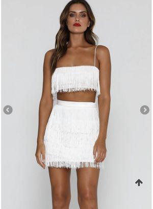 White Two Piece Fringe Skirt Set for Sale in Atlanta, GA