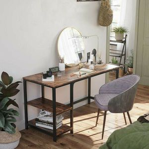 55-Inch Writing Desk with 2 Shelves on Left / Right & Stable Steel Frame for Sale in El Monte, CA