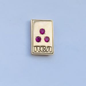 Vintage 1970s RCA 10K Gold Service Award Pin - 3 Red Stones for Sale in NJ, US