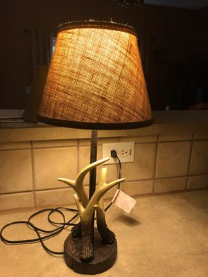 """Mossy Oak Antler Lamp-22""""Tall, has a Burlap type shade. Very Cute, see Pictures; one piece of one of the Antlers and tip broke off. It's a clean brea for Sale in Clayton, NC"""