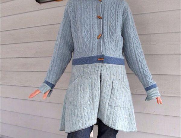 Women's custom cable knit wool sweater coat