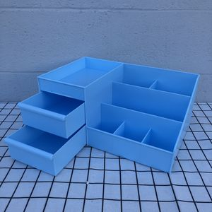 New Baby Blue Room Desktop Organizer Plastic Storage Box Container With Drawers For Household Makeup Toy Beauty for Sale in South El Monte, CA