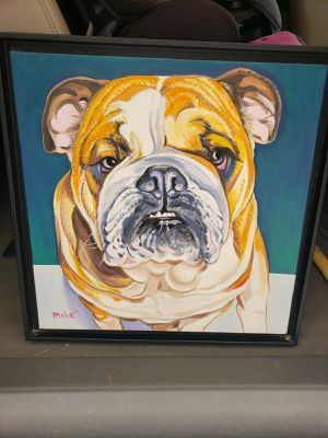 Dog pet bulldog painting decor for Sale in Miami, FL