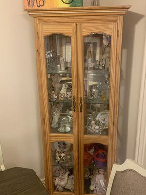 4 shelf glass and oak china display cabinet for Sale in Bountiful, UT
