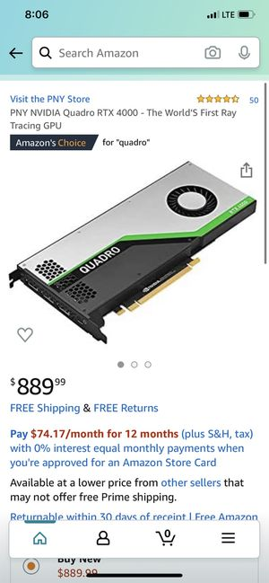 Pny nvidia quadro rtx 4000 the worlds first ray tracing gpu for Sale in Long Beach, CA