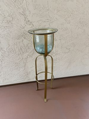 Mid century Metal and glass floor candleholder plant stand for Sale in San Diego, CA