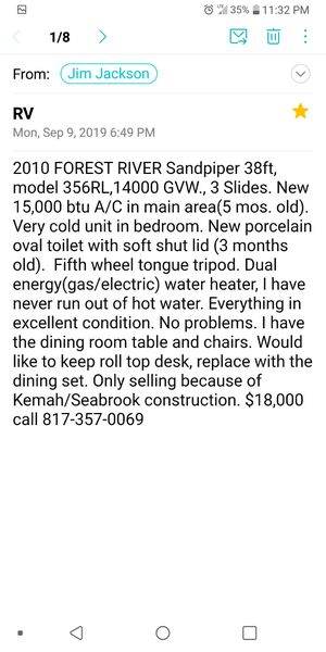 ATTENTION Large RV Great buy ! 38' Fifth Wheel RV for Sale in League City, TX