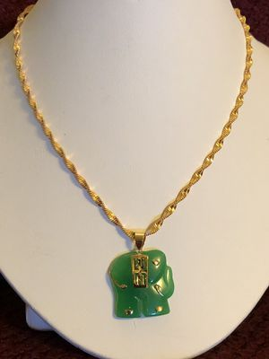 New gold plated chain and jade pendant for Sale in Rockville, MD