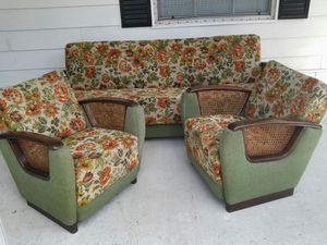 Art deco 3 piece set cane club chairs + sofa bed couch mid century for Sale in Babson Park, FL