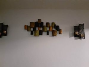 Metal wall decor with matching sconces for Sale in Stockton, CA